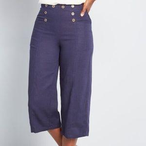 ModCloth Gone Sailing Cropped Wide-Leg Pants